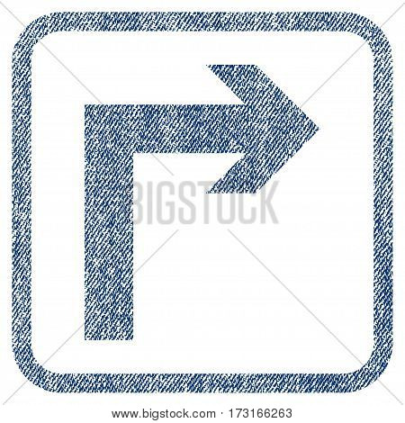 Turn Right vector textured icon for overlay watermark stamps. Blue jeans fabric vectorized texture. Symbol with dust design inside rounded rectangle.