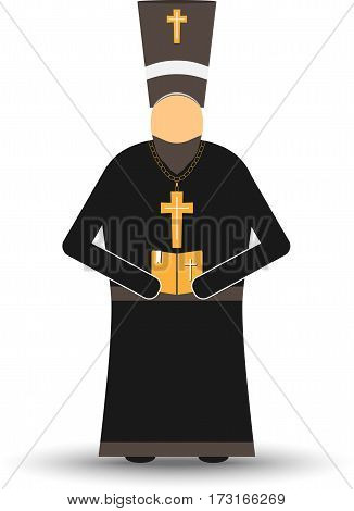 Isolated Russian Pope Standing On White Background. Concept Of Easter Holiday.