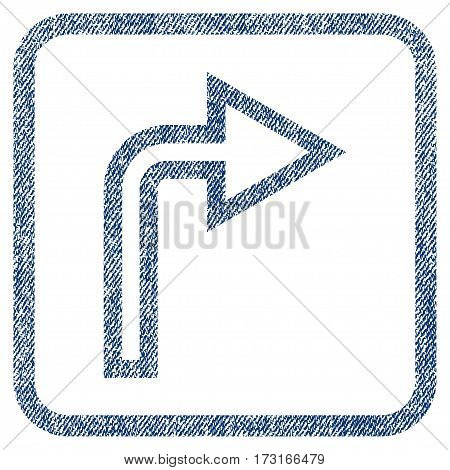 Turn Right vector textured icon for overlay watermark stamps. Blue jeans fabric vectorized texture. Symbol with unclean design inside rounded rectangular frame.