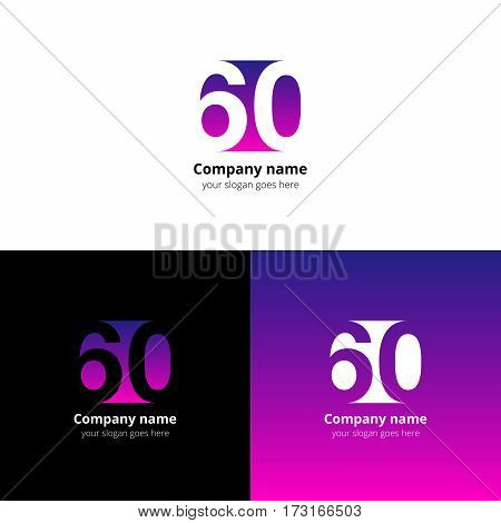60 logo icon flat and vector design template. Monogram numbers six and zero. Logotype sixteen with purple-pink gradient color. Creative vision concept logo, elements, sign, symbol for card, brand.