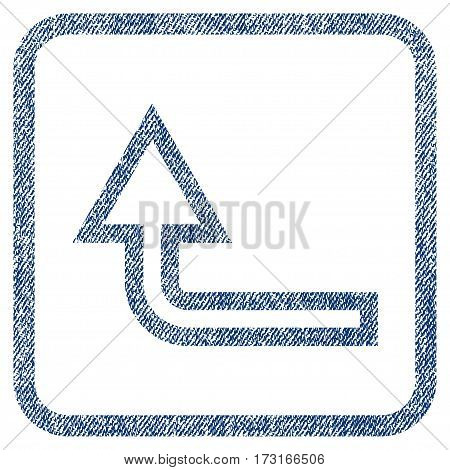Turn Up vector textured icon for overlay watermark stamps. Blue jeans fabric vectorized texture. Symbol with unclean design inside rounded rectangular frame.