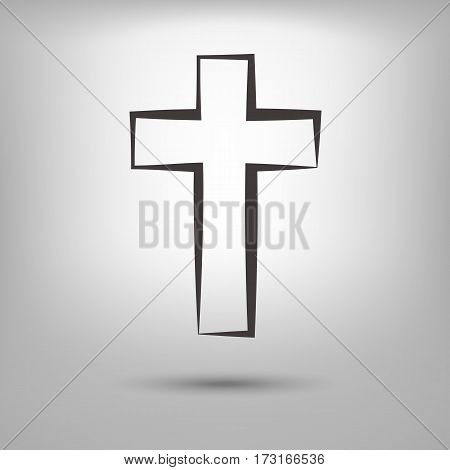 Hand Drawn Black Grunge Cross Icon, Simple Christian Cross Sign, Hand-painted Cross Symbol Created W