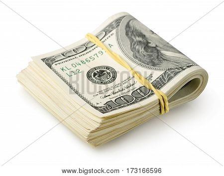 Dollars tied with a rubber band isolated on a white background