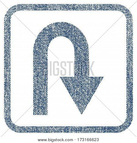 U Turn vector textured icon for overlay watermark stamps. Blue jeans fabric vectorized texture. Symbol with scratched design inside rounded rectangle.