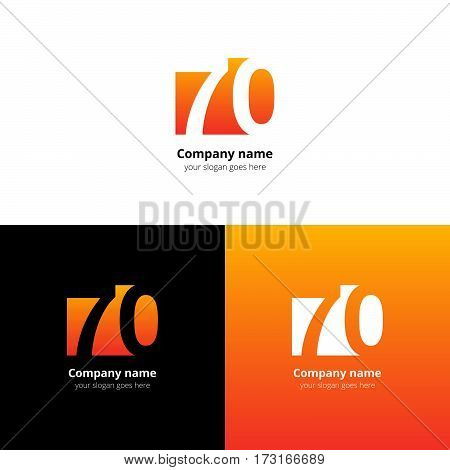 70 logo icon flat and vector design template. Monogram years numbers seven and zero. Logotype seventy with orange gradient color. Creative vision concept logo, elements, sign, symbol.