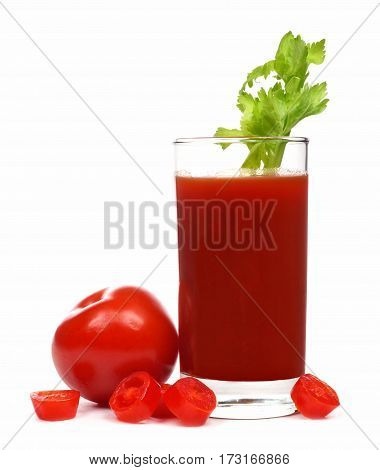 Glass Of Tomato Juice With Celery Stick And Surrounding Tomatoes Isolated On A White Background