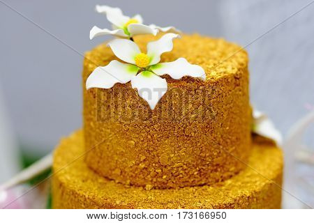 Gold Wedding Cake Decorated With White Sugar Flowers