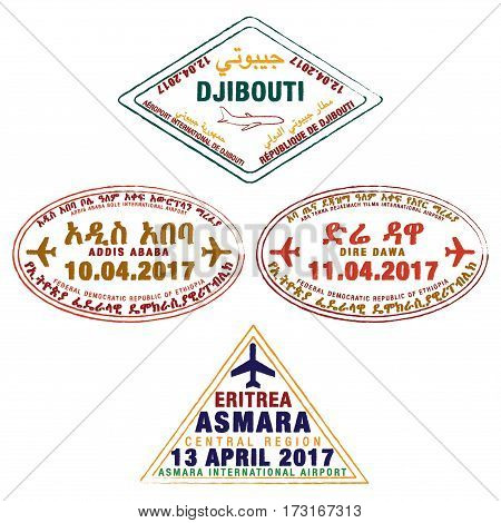 Stylised Passport Stamps Of Djibouti, Ethiopia And Eritrea In Vector Format.