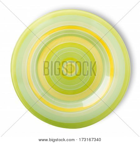 Green plate isolated on a white background