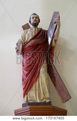 SHKODER, ALBANIA - SEPTEMBER 30: Saint Andrew Apostle statue in St Stephen's Cathedral in Shkoder, Albania on September 30, 2016.