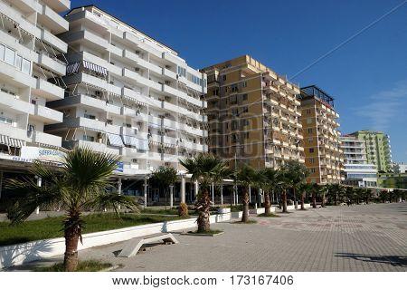 BERAT, ALBANIA - SEPTEMBER 30, 2016: Shengjin coastal city on the Adriatic Sea in Albania on September 30, 2016.