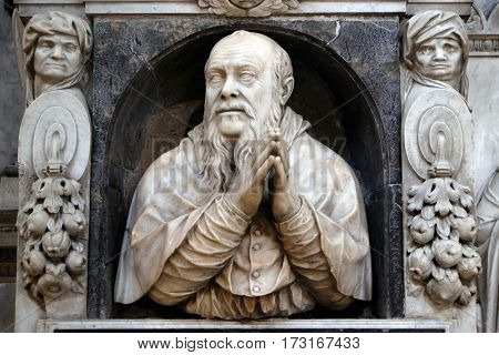 ROME, ITALY - SEPTEMBER 02: Monument to Gian Girolamo Albani in Church of Santa Maria del Popolo, Rome, Italy on September 02, 2016.