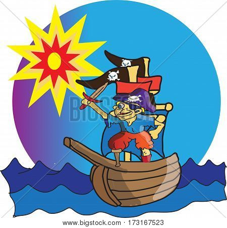 Most boys wish to become pirates and sail the seven seas . This one managed to make his dream come true. So now with his little ship a wooden leg and a sword he sets off  to become every landlubbers scourge.