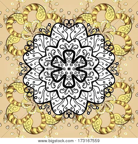 Seamless classic golden pattern. Traditional orient ornament. Classic vintage background. Golden pattern on neutral background with golden elements.