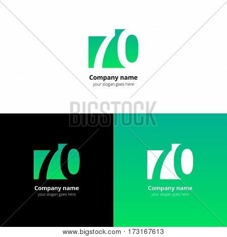 70 logo icon flat and vector design template. Monogram years numbers seven and zero. Logotype seventy with light green gradient color. Creative vision concept logo, elements, sign, symbol.