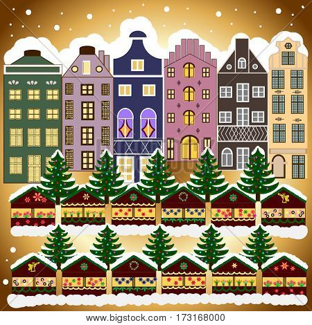 Background. Evening village winter landscape with snow cover houses. Christmas winter scene.