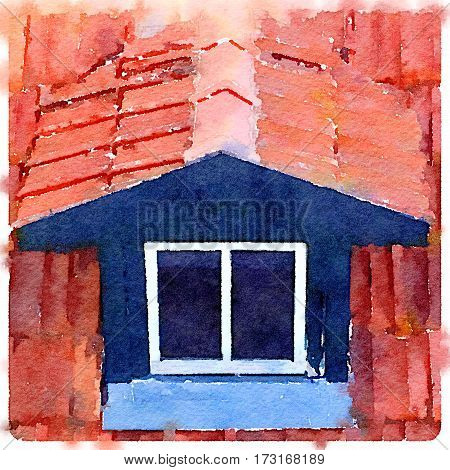 Digital watercolor painting of a closed dormer roof window with terracotta tiles and space for text.