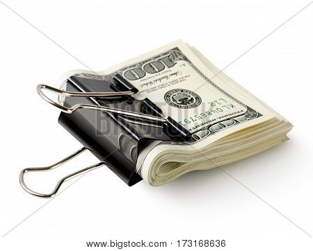 One hundred dollar bills in the clip isolated on a white background