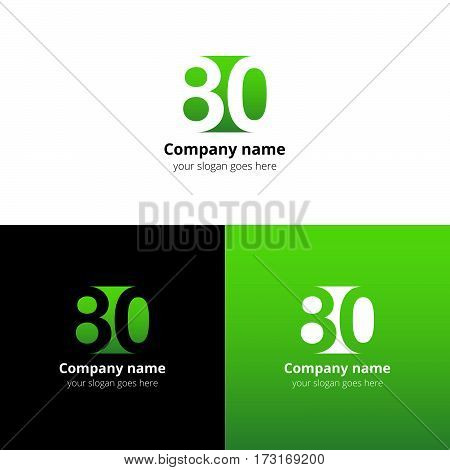 80 logo icon flat and vector design template. Monogram years numbers eight and zero. Logotype eighty with green gradient color. Creative vision concept logo, elements, sign, symbol.