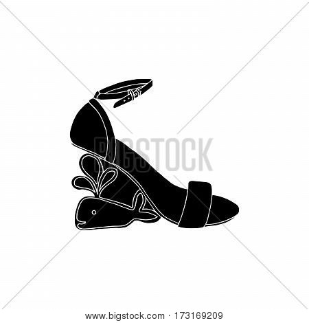 High-heeled black silhouette shoes for woman. Fashion footwear artwork. Isolated clipart for coloring book pages design