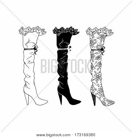 High-heeled shoes set for woman. Fashion footwear artwork in shoe style pattern fill. Isolated clipart for coloring book pages design