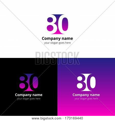 80 logo icon flat and vector design template. Monogram years numbers eight and zero. Logotype eighty with purple-pink gradient color. Creative vision concept logo, elements, sign, symbol.