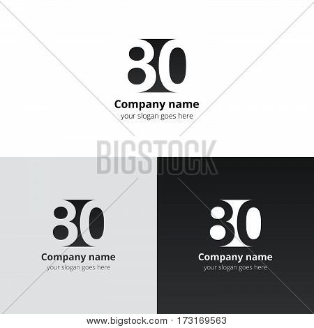 80 logo icon flat and vector design template. Monogram years numbers eight and zero. Logotype eighty with black-black gradient color. Creative vision concept logo, elements, sign, symbol.