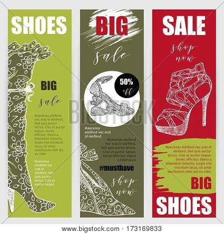 Vertical flyers or banners set with fashion woman footwear, trendy high heel shoes