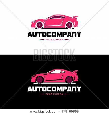 Car Logo Vector Illustration. Auto Company logotype design concept with pink color sports car silhouette. High speed automobile illustration on black and white background.