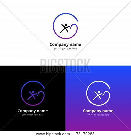 Gymnastics Logo. Gymnastics with ribbon Branding Identity Corporate vector logo with trend violet-blue gradient design template Isolated on a white and black background