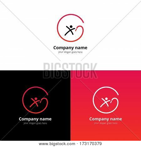 Gymnastics with ribbon vector logo with flat trend red-pink gradient design template Isolated on a white and black background. Logotype for sport or acrobatic company.