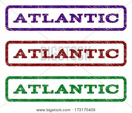 Atlantic watermark stamp. Text tag inside rounded rectangle frame with grunge design style. Vector variants are indigo blue red green ink colors. Rubber seal stamp with scratched texture.