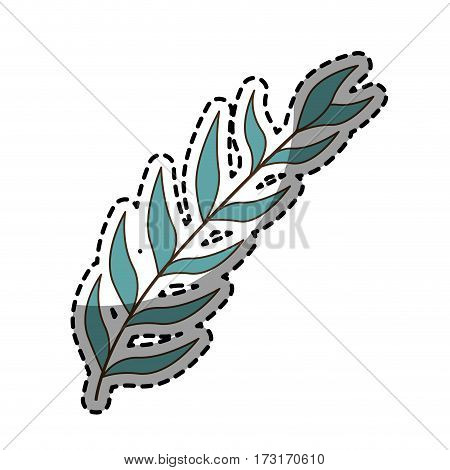 sticker with blue oval leaves with ramifications vector illustration