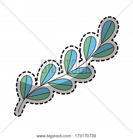 sticker of color silhouette oval leaves with ramifications vector illustration