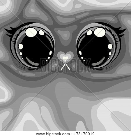 illustration. Shows large animal's eyes and muzzle with the nose in the form of a heart. Background illustration grey color transition from light to dark shades.