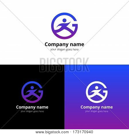 Sport logo, icon, emblem flat and vector design template. Trend violet-purple gradient color on white and black background. Symbol sport with letter G vector elements.