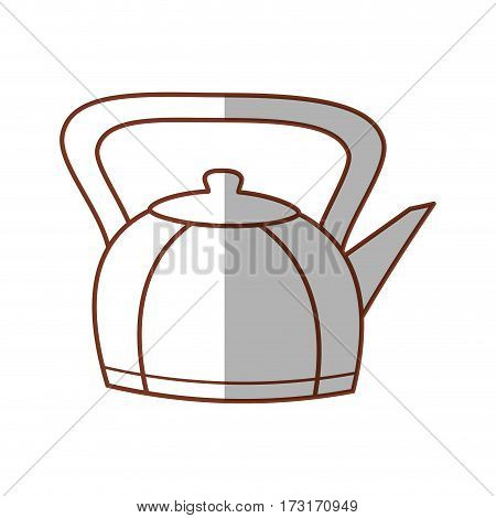 kettle teapot hot beverage line vector illustration eps 10