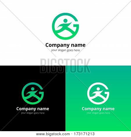 Sport logo, icon, emblem flat and vector design template. Trend green gradient color on white and black background. Symbol sport with letter G vector elements.