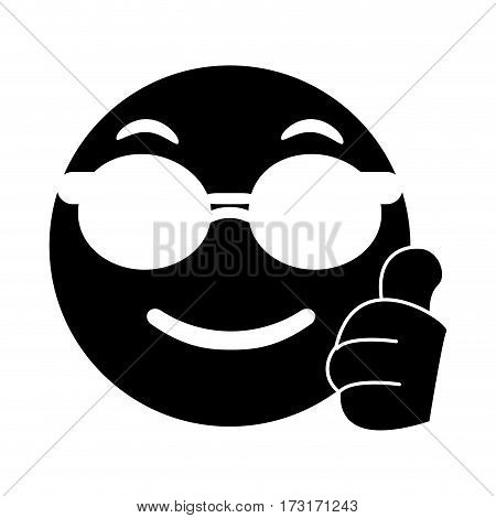 sunglasses and thumb emoticon style pictogram vector illustration eps 10