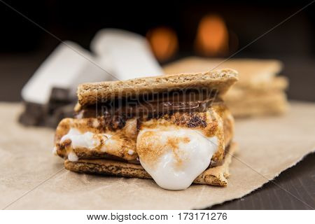 Assembled Smore On Brown Paper