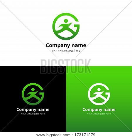 Sport logo, icon, emblem flat and vector design template. Trend light green gradient color on white and black background. Symbol sport with letter G vector elements.