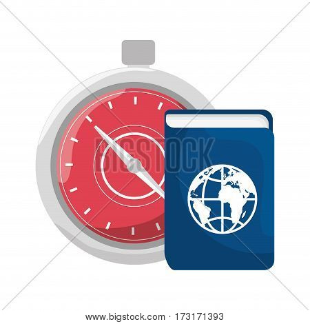 color silhouette with passport and chronometer vector illustration