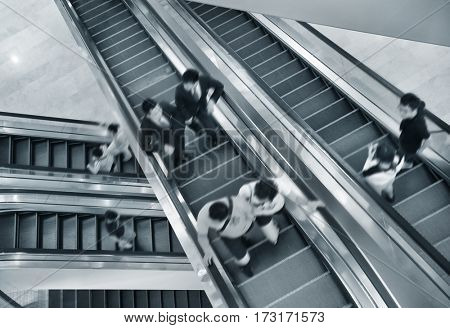 Handrail elevator in the  shopping mall