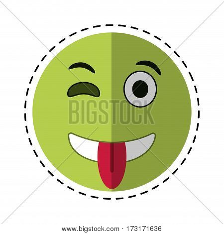 eyewink and tongue emoticon style cut line vector illustration eps 10