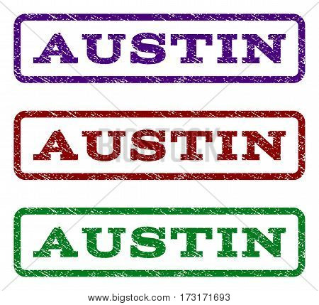Austin watermark stamp. Text tag inside rounded rectangle frame with grunge design style. Vector variants are indigo blue red green ink colors. Rubber seal stamp with dust texture.