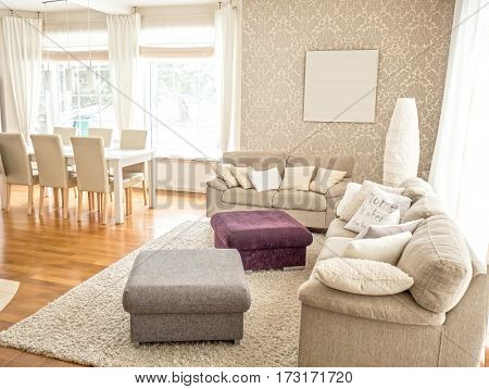 Bright Salon And Dining Table.