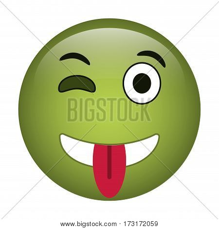 eyewink and tongue emoticon style icon vector illustration eps 10