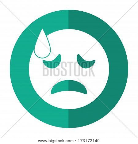 crying face emoticon funny shadow vector illustration eps 10