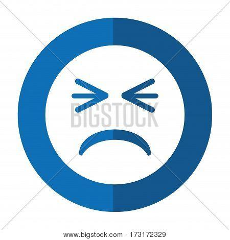 unhappy face emoticon funny shadow vector illustration eps 10