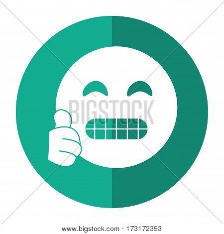 grimacing face emoticon funny shadow vector illustration eps 10